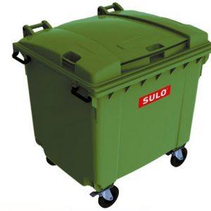 ถังขยะ กทม ขนาด 1100 ลิตร ล้อเข็น ฝาเรียบ สีเขียว (มีหูยก)
